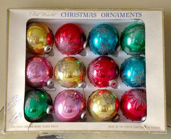 Glass Christmas Tree Ornaments West German Glitter Mica Mercury Glass ...