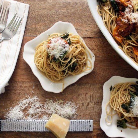 Kale Pasta + Burst Tomato Sauce   Italian Eats   Pinterest