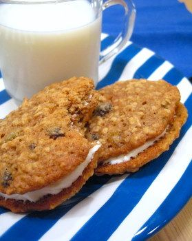 Oatmeal Sandwich Cookies with Fig/Pecan Cream Cheese Filling