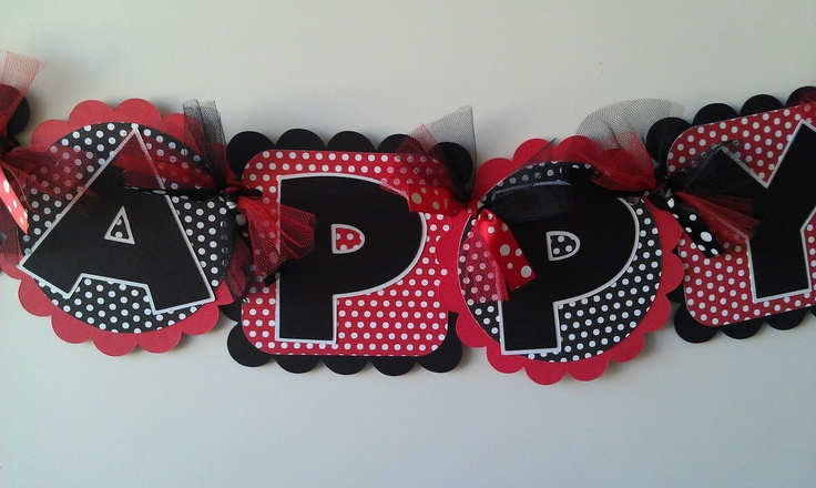 MINNIE MOUSE BIRTHDAY Banner Black and Red Polka Dot. $29.00, via Etsy.