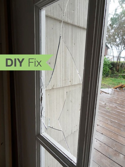 Broken Glass Window : Broken window replacing pane in wood frame