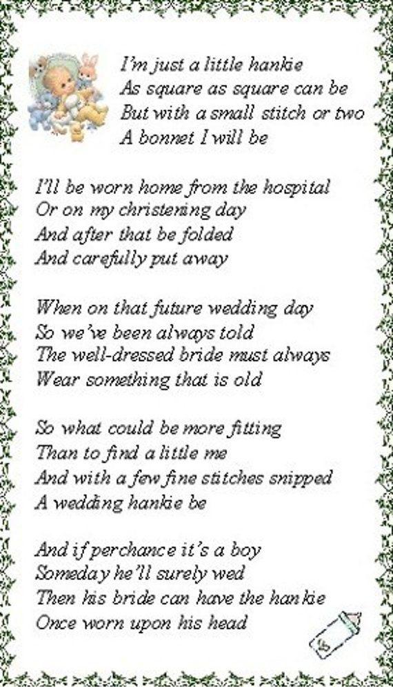 Poem to go with newborn hankie bonnet | baby gift | Pinterest