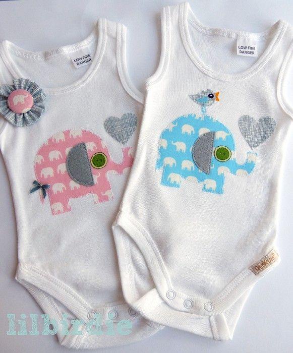 applique baby onesies design | Baby Boys Blue Elephant Baby Onesie | Li'l Birdie Shop | madeit.com.au