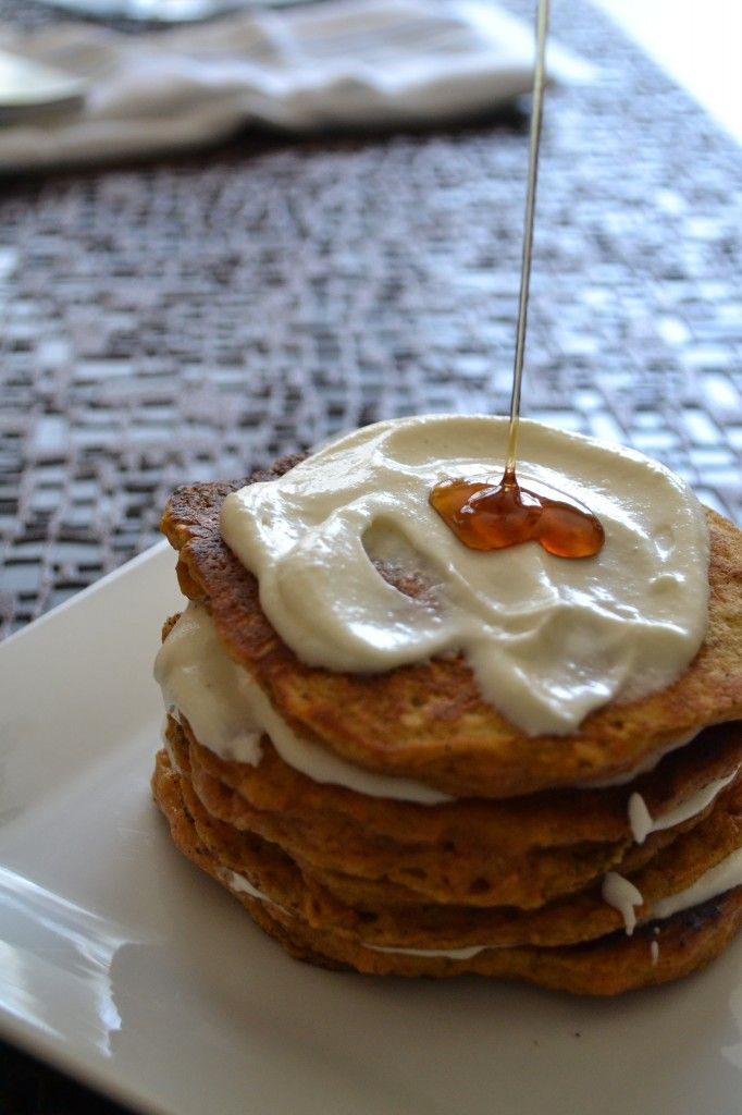 Carrot Cake Pancakes with Cream Cheese Topping and a little Maple ...
