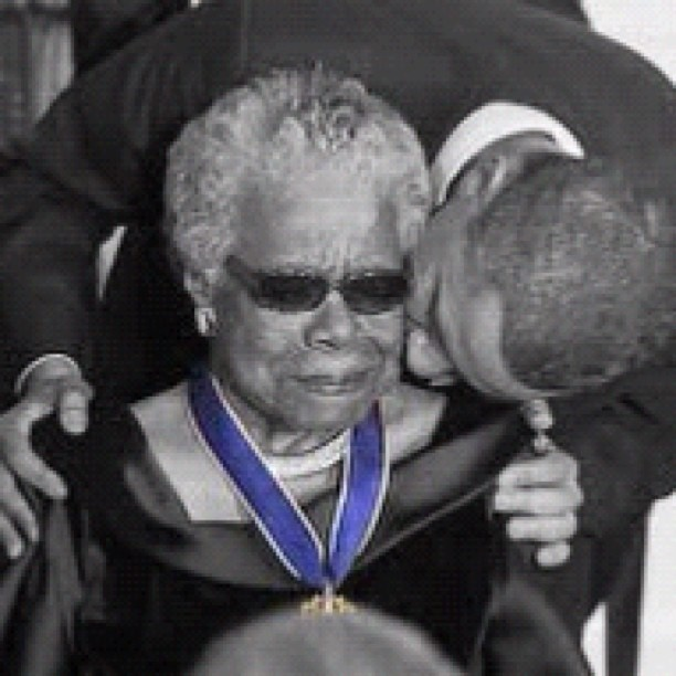 President Obama kissing Maya Angelou after presenting her with the Presidential Medal of Freedom.