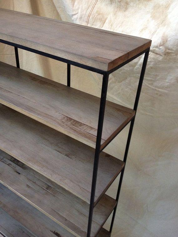 industrial rustic shelving wood and metal shelf. Black Bedroom Furniture Sets. Home Design Ideas
