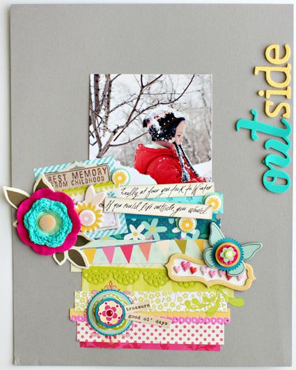 scrapbook page by Christine Middlecamp...so perfectly messy and completely cheery