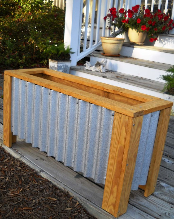 ... Corrugated Metal Planter Box By Diy Corrugated Steel Wood Planter Box  Exterior Home ...