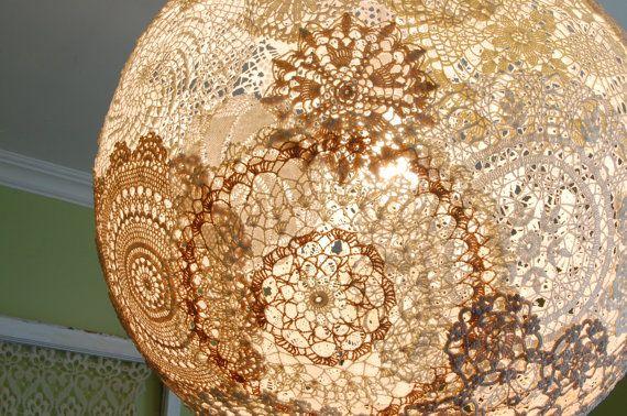 Shabby chic doily pendant light fixture globe chandelier for Doily light fixture