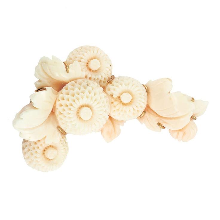 Золото и резные брошь цветок Coral