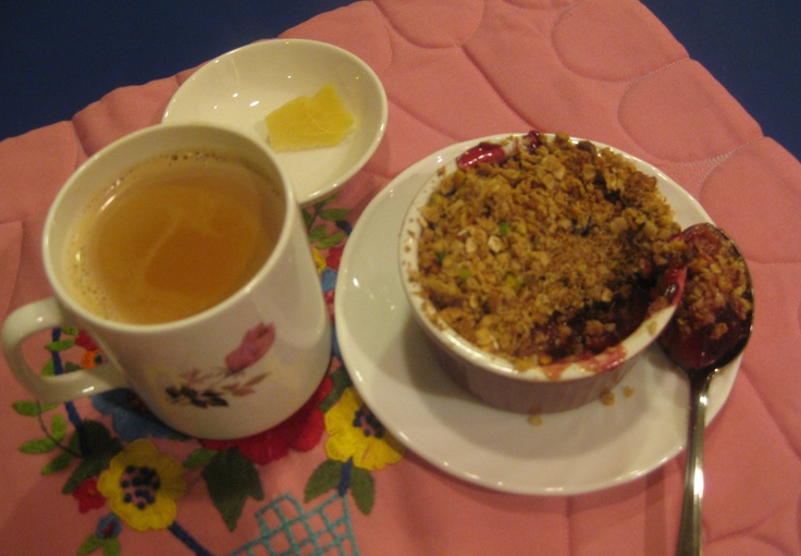 Plum Crumble With Ginger Tea: Plums and pistachios go together very ...