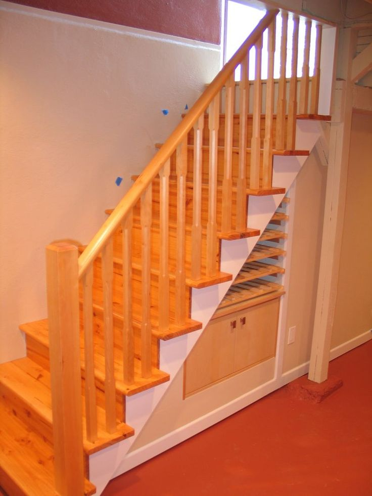 Storage Under Stairs With Railing Basement Ideas Pinterest