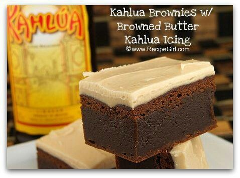 Kahlua Brownies with Browned Butter Icing