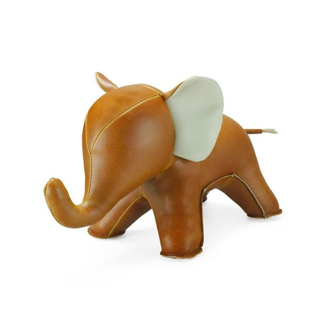 Elephant Bookend in Tan - This playful faux leather bookend can be used to prop or books or be displayed on its own. Adorable nursery decor! #PNshop
