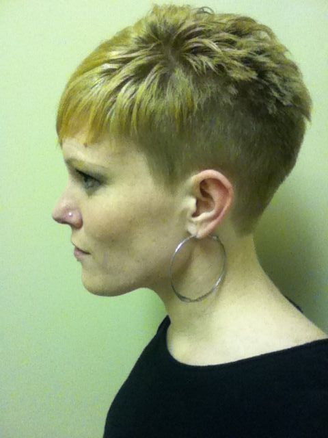 buzzed hairstyles for women -- wishing I took a picture of that lady ...