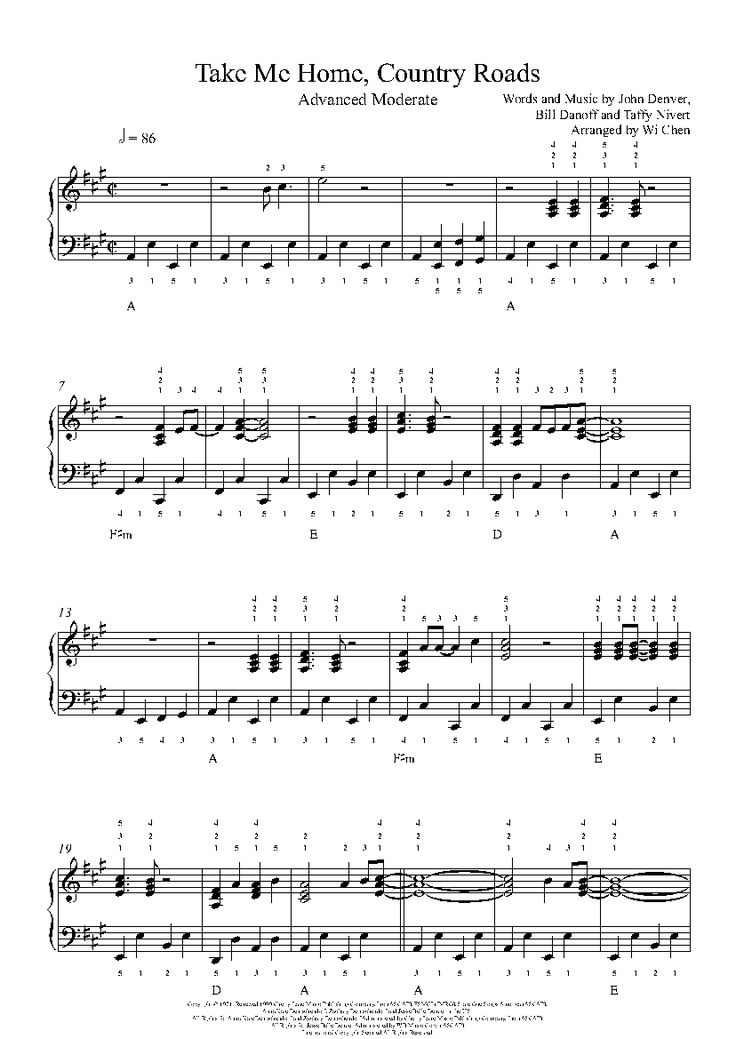 Magnificent Take Me Home Country Roads Chords Sketch - Beginner ...