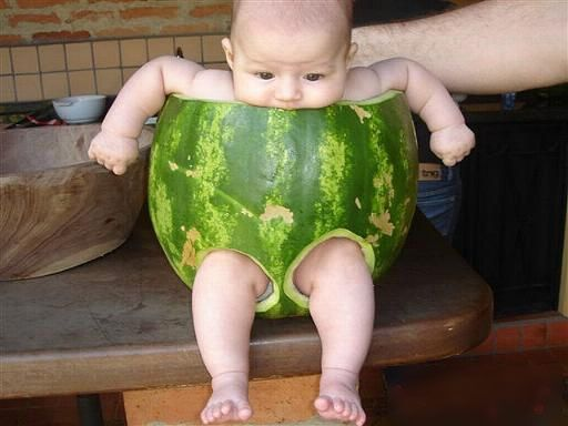 Happy Watermelon Day!: Photo via xinhuanet. Does anyone know the original source from 3/23/08? #Watermelon #Baby #xinhuanet
