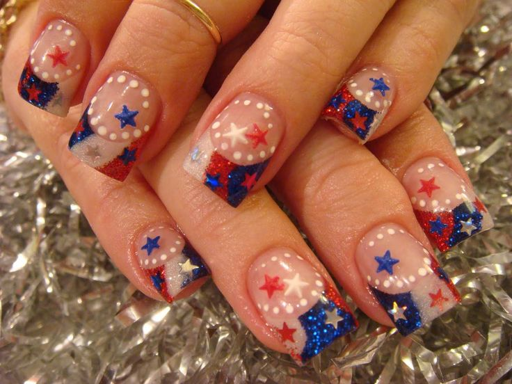 fourth of july french nails