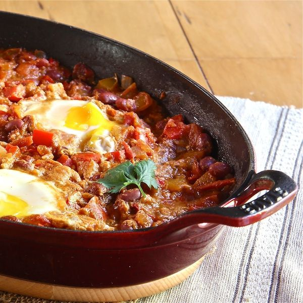 Moroccan Bean Ragout with Poached Eggs - The Wimpy Vegetarian