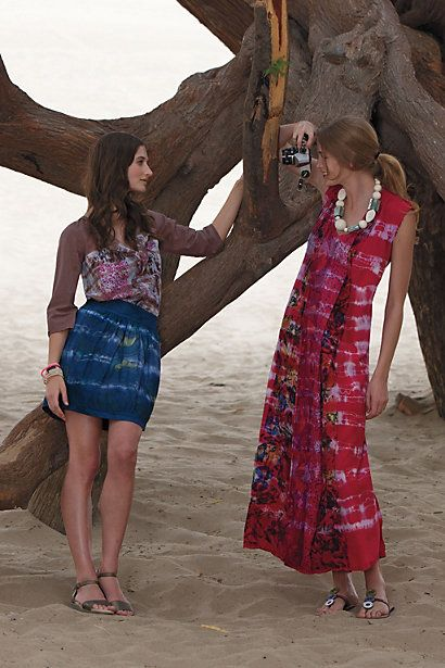 L.A.-based designer Gregory Parkinson has launched a new line for Anthropologie named Gregory, with styles including a tie-dye maxi dress, shifts, blouses, miniskirts and a cardigan, all with Parkinson's signature eclectic color and print.