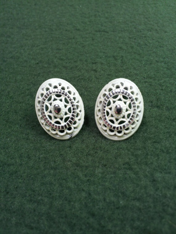 Shabby chic clip on earrings by dresdencreations on etsy 5 00