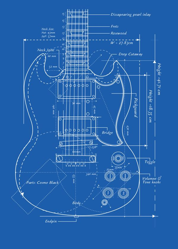 Gibson Guitar Blueprint Guitars Pinterest