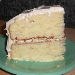 White Almond Wedding Cake--uses plain white cake mix, plus sour cream and almond extract