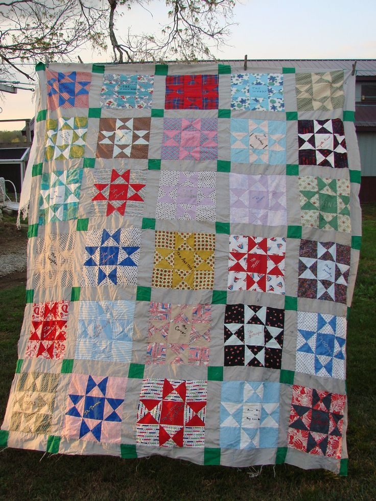 Quilt Pattern Names List : Vintage Star Pattern Friendship Quilt Top Embroidery Names
