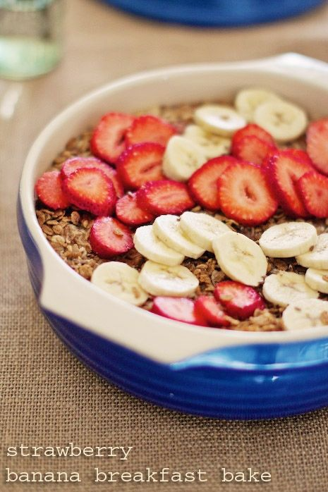 Clean Eating Strawberry Banana Breakfast Bake Recipe