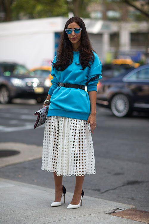 Skirt + belted sweatshirt.