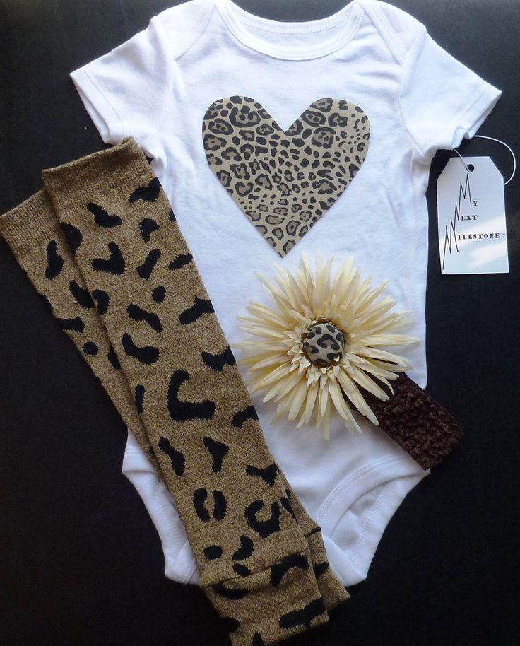beats mixr or studio Cheetah Print Heart applique Baby Onesie Legwarmers and Flower Headba