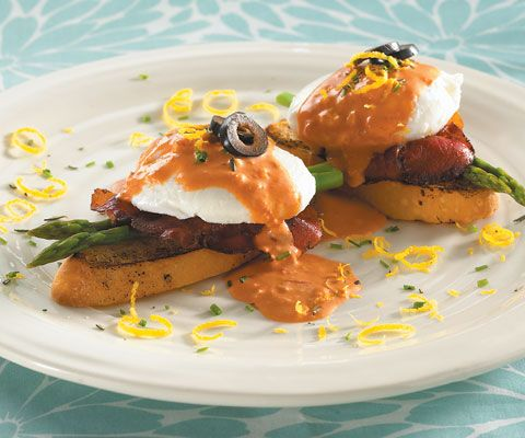 eggs Benedict with grilled ciabatta, asparagus, fried prosciutto ...