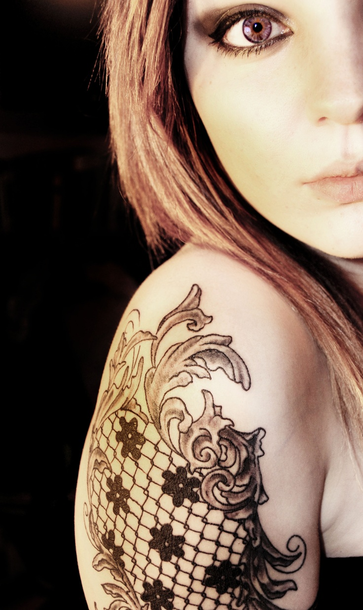 Lace half sleeve in white inspiration tattoo pinterest for Lace half sleeve tattoo