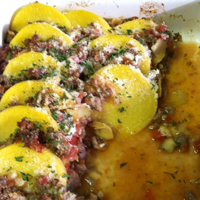 Baked Polenta With Sausage and Artichoke Hearts: 2tsp EVOO, 1/2 onion ...