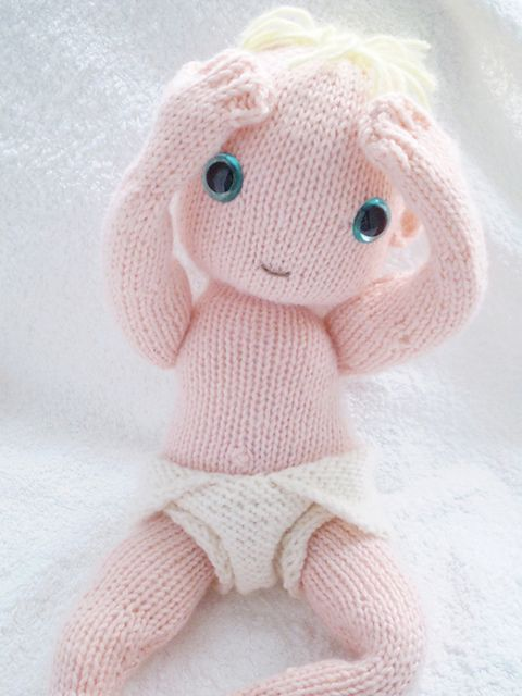 Knitted Baby Doll and Nappy pattern by Claire Garland