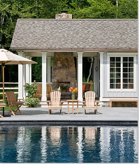Pool house fireplace outdoor living pinterest for Pool with fireplace