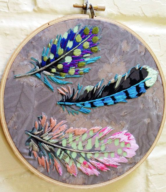 Applique and embroidery Feathers Falling Slowly Hoop by IslandBaby