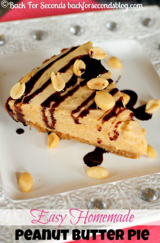 The BEST Easy Homemade Peanut Butter Pie with a KILLER Crust!! {GLUTEN FREE} http://backforsecondsblog.com #pie #peanutbutterdessert #cheesecake