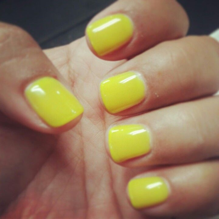 Yellow summer short gel nails | Nails | Pinterest