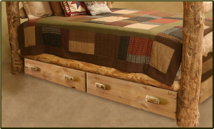 Rustic Underbed Trundle Drawers $675.95    There isn't a better way to use the space under your log bed than to add these beautiful and sturdy underbed drawers!