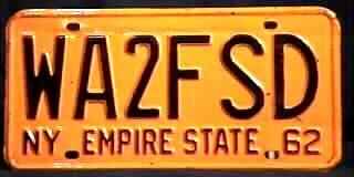 new york state amateur radio license plate 1962 | license