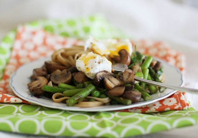 Linguine with Miso Butter, Poached Egg and Spring Vegetables