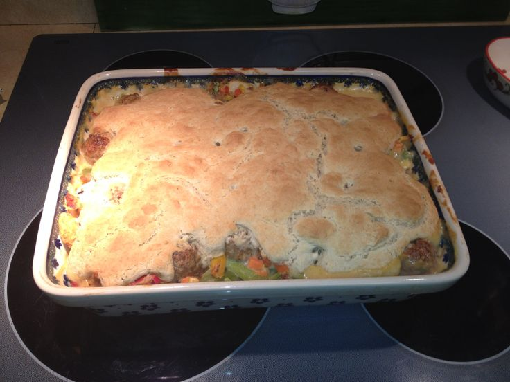 ... vegetables. Bake at 350 for 30 mins. Top with quick bisquick biscuit