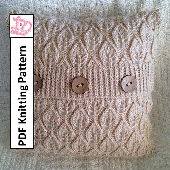 Knit Pillow Cover Pattern : PDF KNITTING PATTERN -- Leaves 16x16 pillow cover