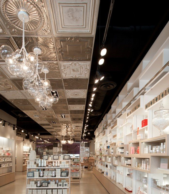 pressed tin ceiling tiles. love! Salon design Pinterest