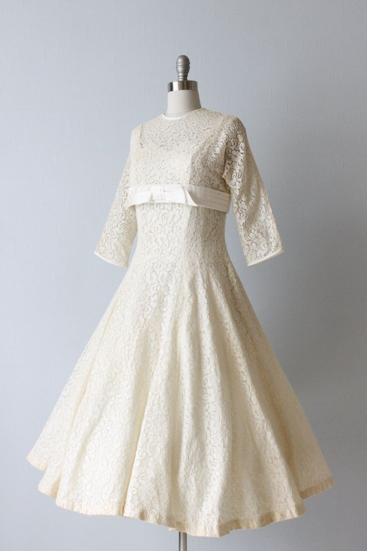 Vintage 1950s tea length wedding dress hitched pinterest for 1950 wedding dresses tea length