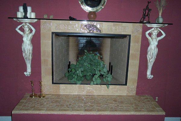 Decorative ceramic tile fireplace chimeneas hornos de - Chimeneas de barro ...