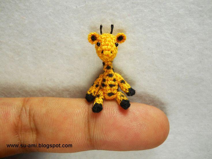 Amigurumi Giraffe : Tiny Walking Giraffe - Micro Dollhouse Miniature Crochet ...
