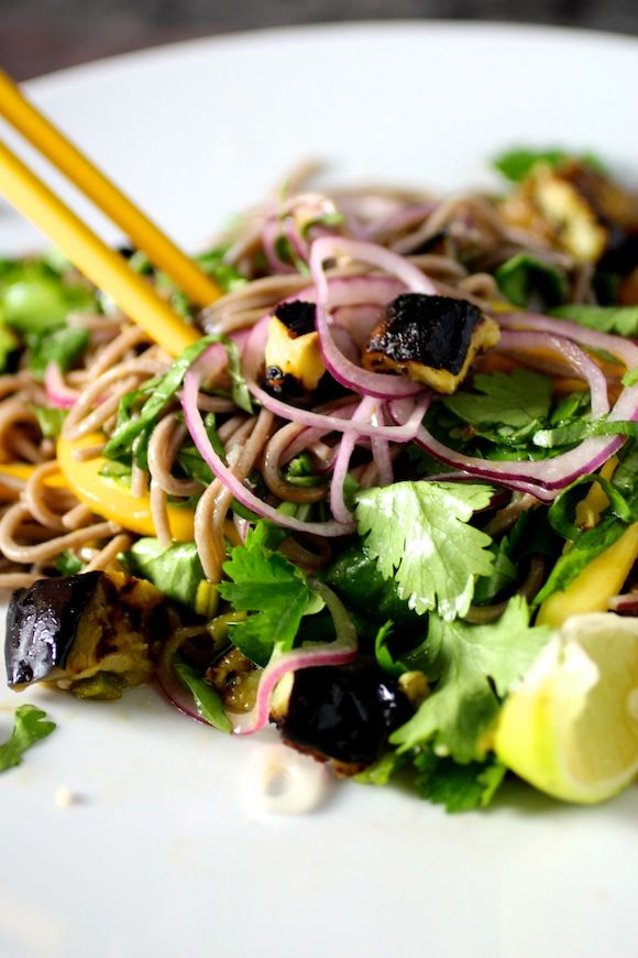 cold soba noodles with eggplant and mango, fresh herbs, garlic chile ...