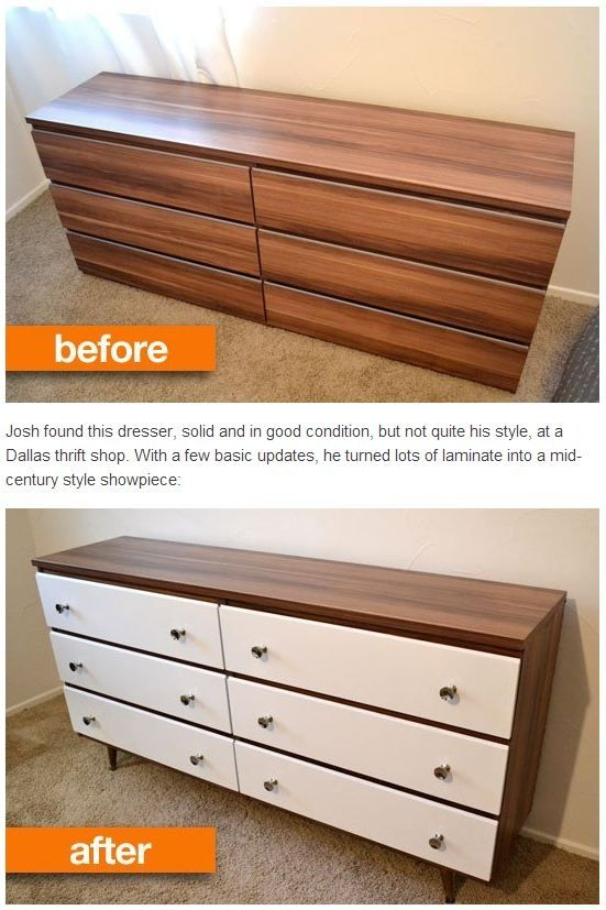 Before after josh 39 s thrift to mid century style dresser for Repurposed furniture before and after